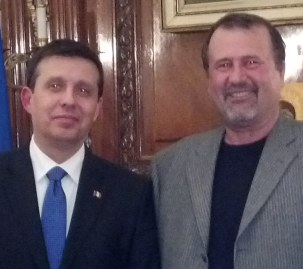 Romanian Ambassador to the United States of America, His Excellency Iulian Buga and Mr. John I. Banu, President of the Romanian American League, December 5th, 2013